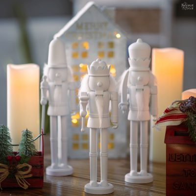 DIY Dollar Tree Snow-White Nutcrackers - TheNavagePatch.com