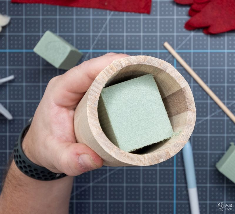 floral foam in a wood cup