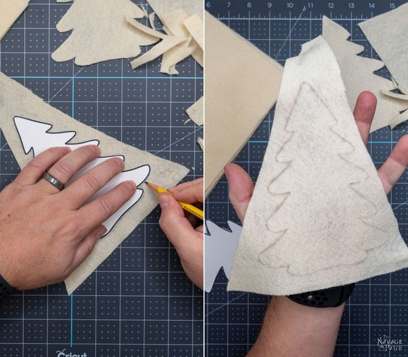 cutting felt trees from a template with scissors