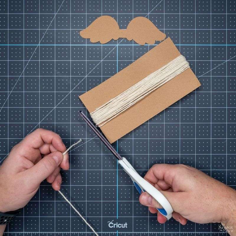 wrapping yarn around a piece of chipboard