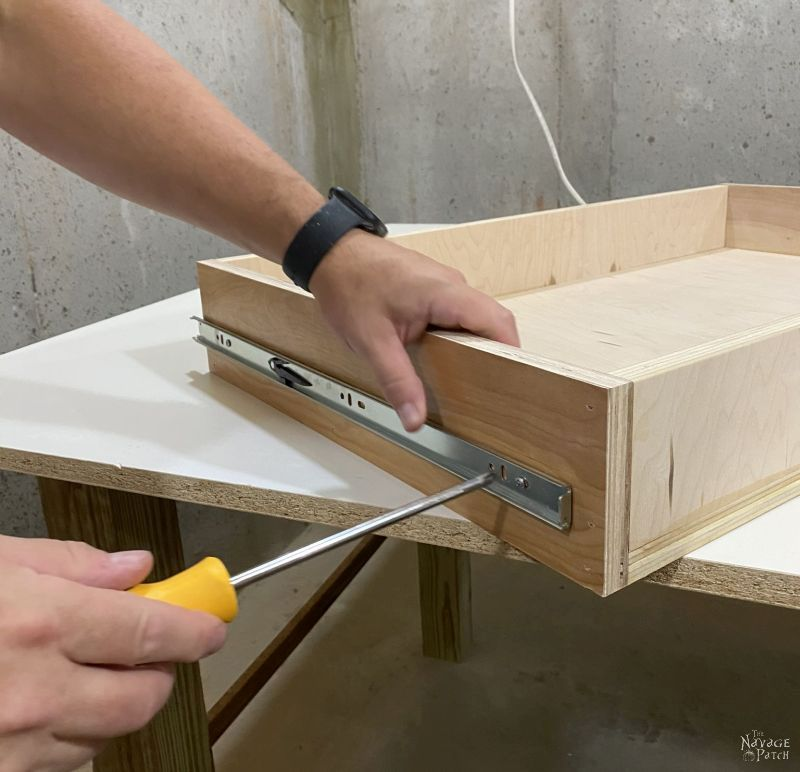 adding drawer slides to a drawer