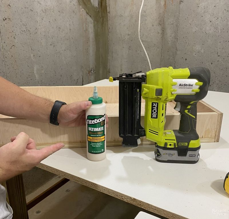 glue and brad nails to make a drawer