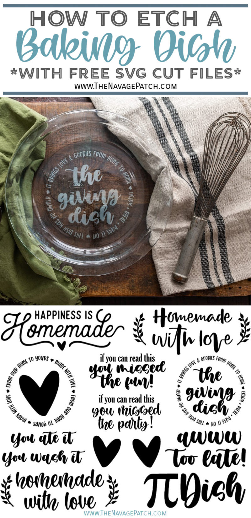 Thrift Store Baking Dish Makeover with Free SVGs - TheNavagePatch.com