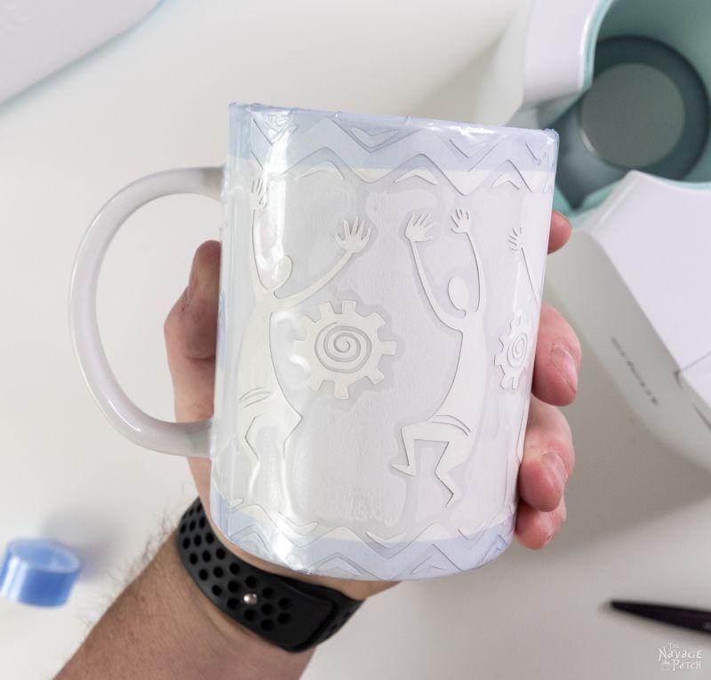 Applying a transfer sheet to a cricut mug