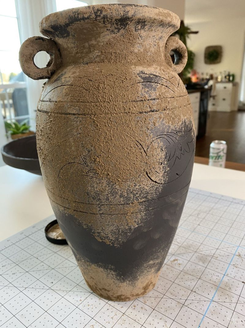 mud painted vase