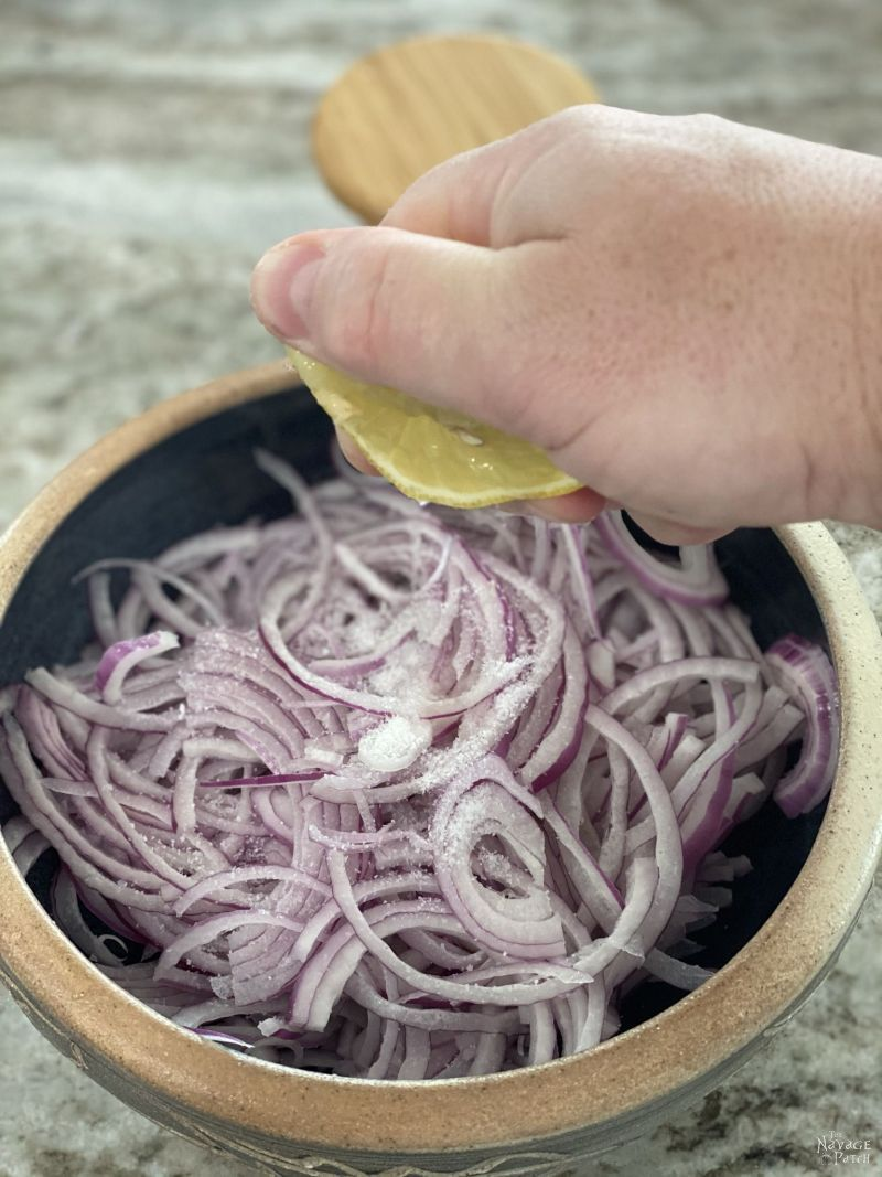 making lemon pickled red onion