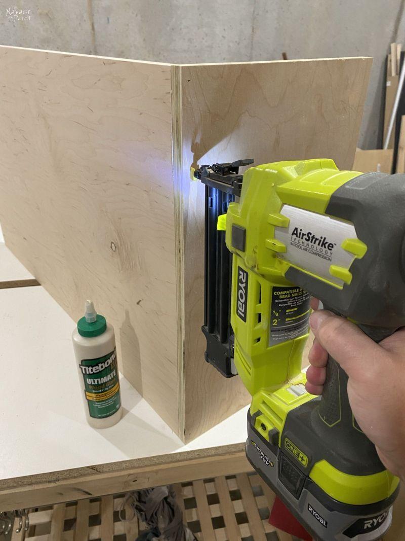 brad nailing plywood together
