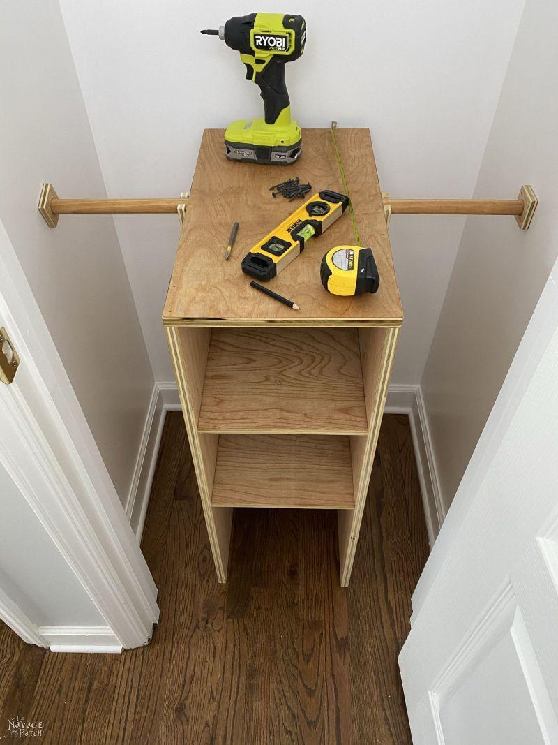 installing closet storage shelves
