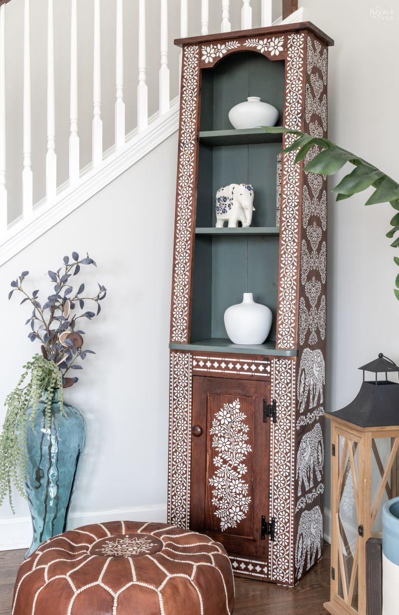 DIY Indian Bone Inlay Living Room Cabinet - TheNavagePatch.com