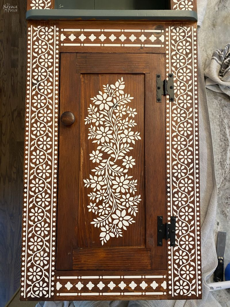 faux indlian bone inlay stencil for living room cabinet