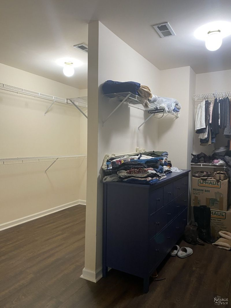 emptying a closet for a makeover