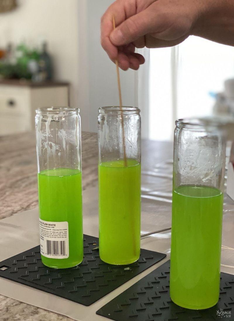green liquid wax for citronella candles