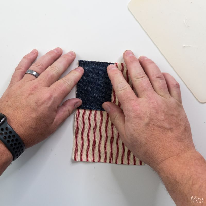 gluing fabric for a flag garland