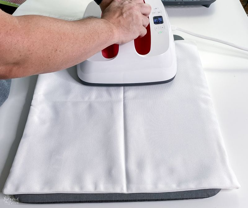 ironing a pillow cover for diy outdoor pillows
