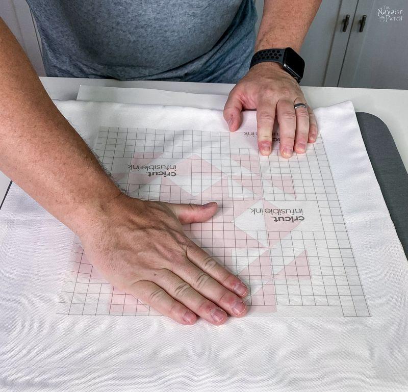 putting the design on the pillow cover