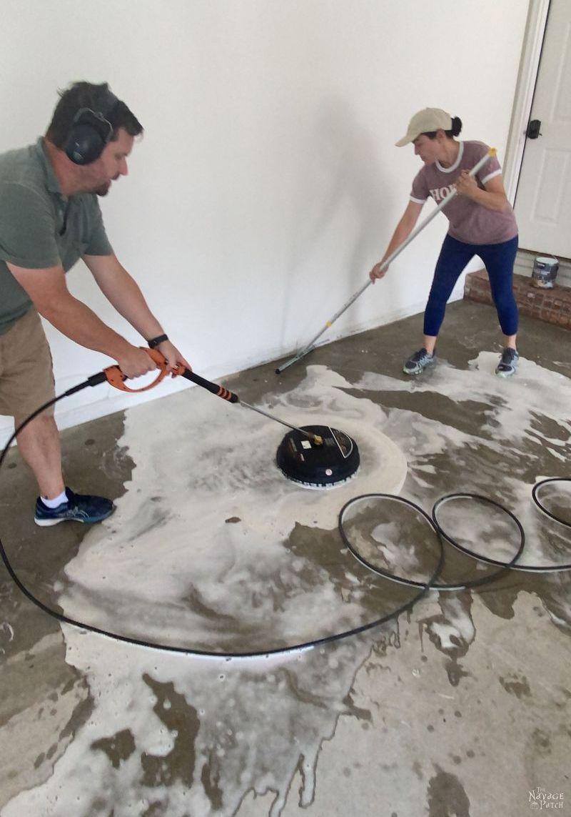power washing a garage floor