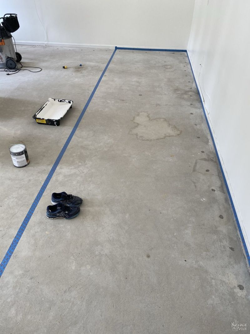 taped off area to be painted in the garage