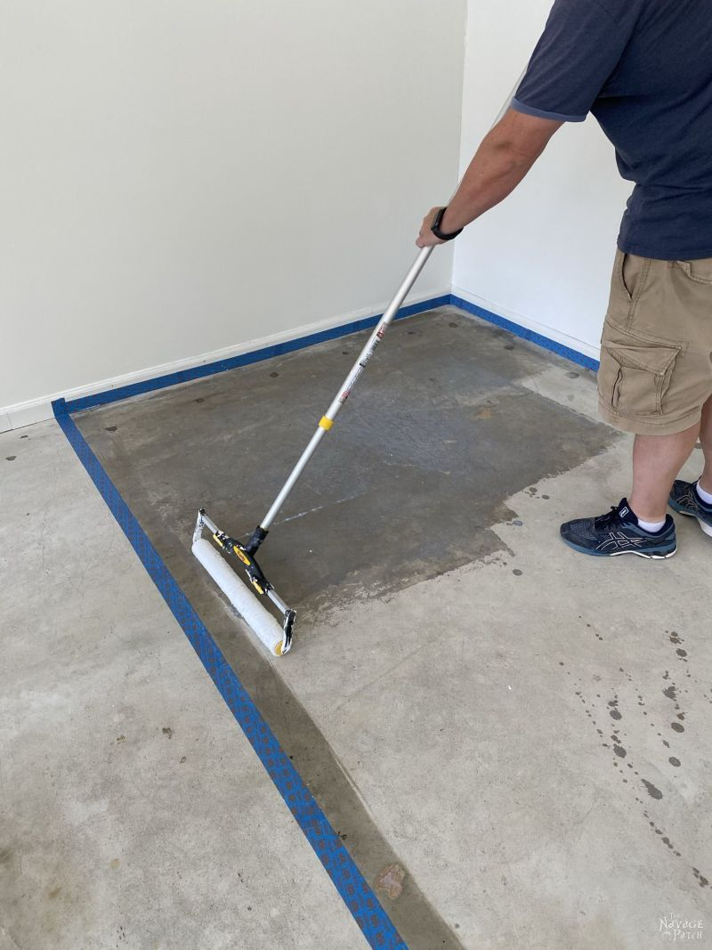 applying primer to concrete before painting