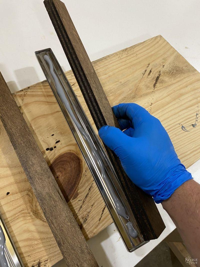 gluing wood onto a magnetic knife holder
