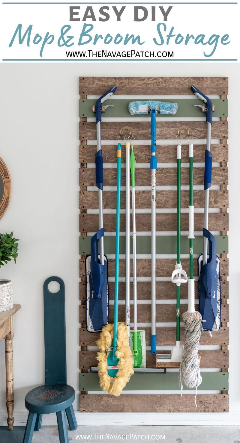 DIY Mop & Broom Storage - TheNavagePatch.com