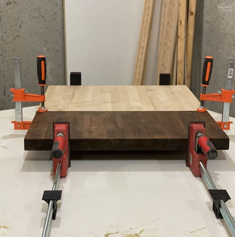 gluing two pieces of butcher block together