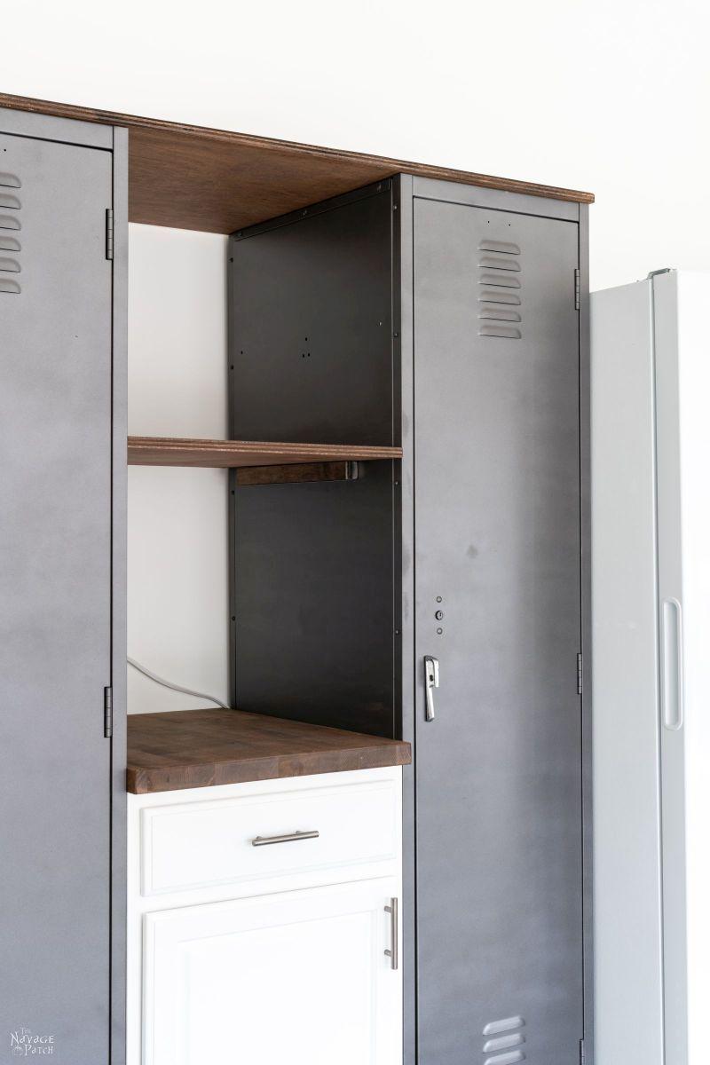 DIY Metal Locker Shelves - TheNavagePatch.com