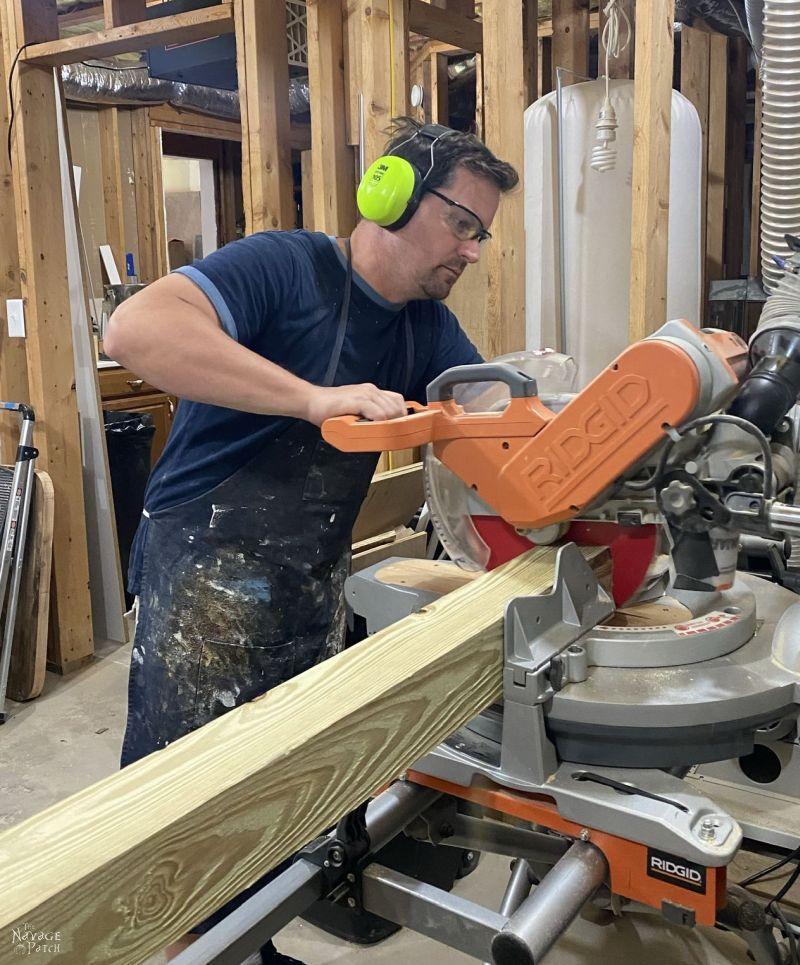 chopping a pressure treated 4 x 4