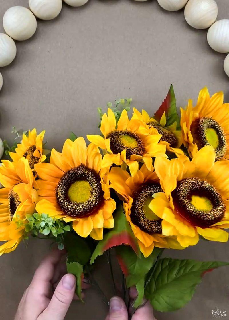 bouquet of faux sunflowers