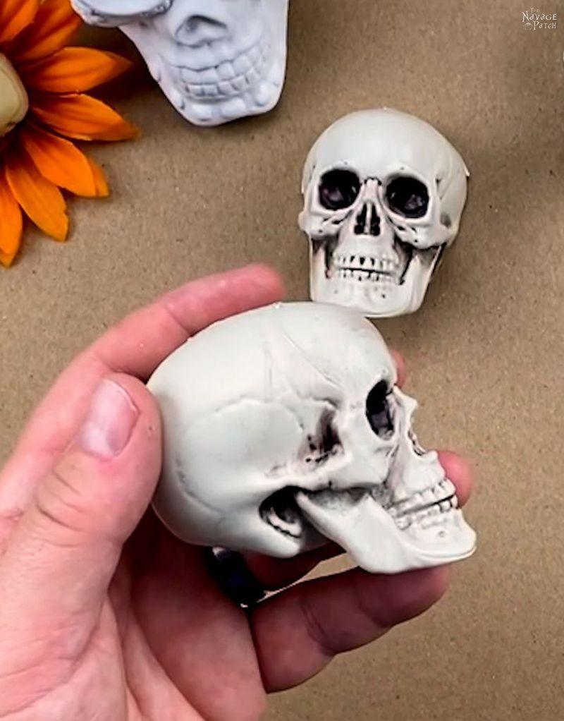 man holding a small plastic skull