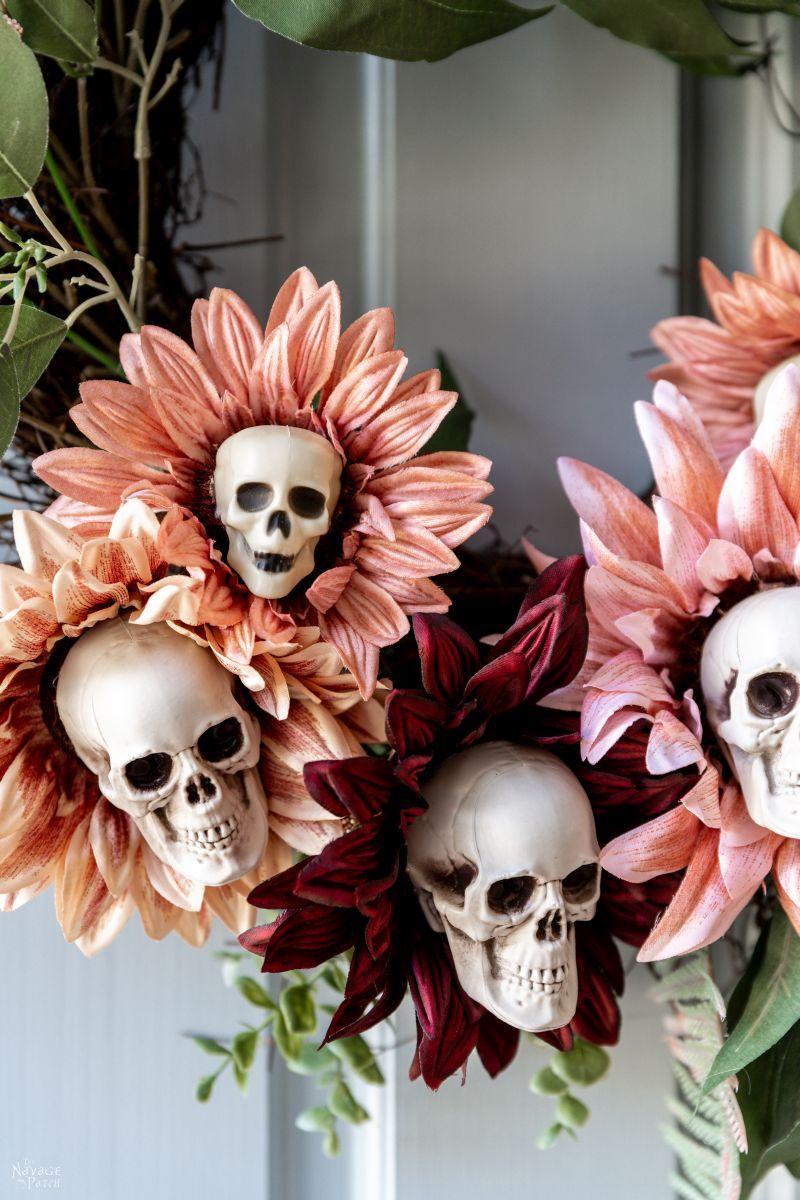 DIY Skull Sunflower Wreath - TheNavagePatch.com
