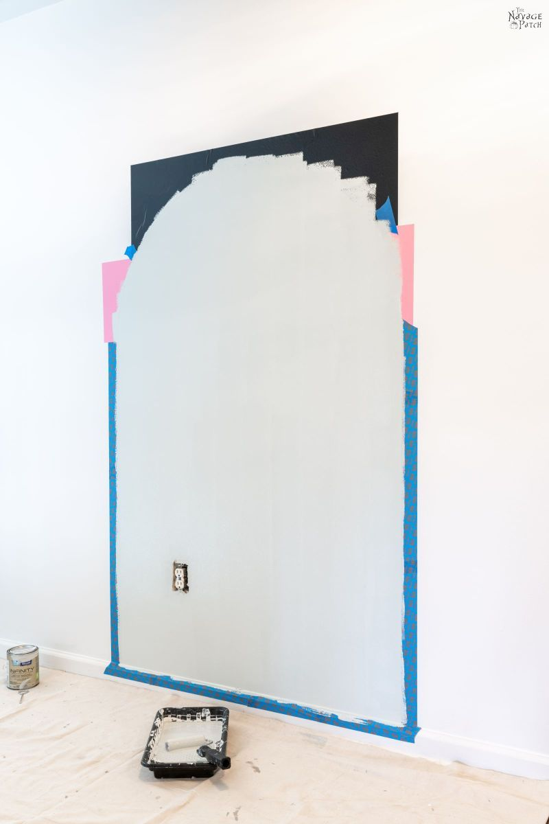 painting an arch accent wall with sea salt color paint