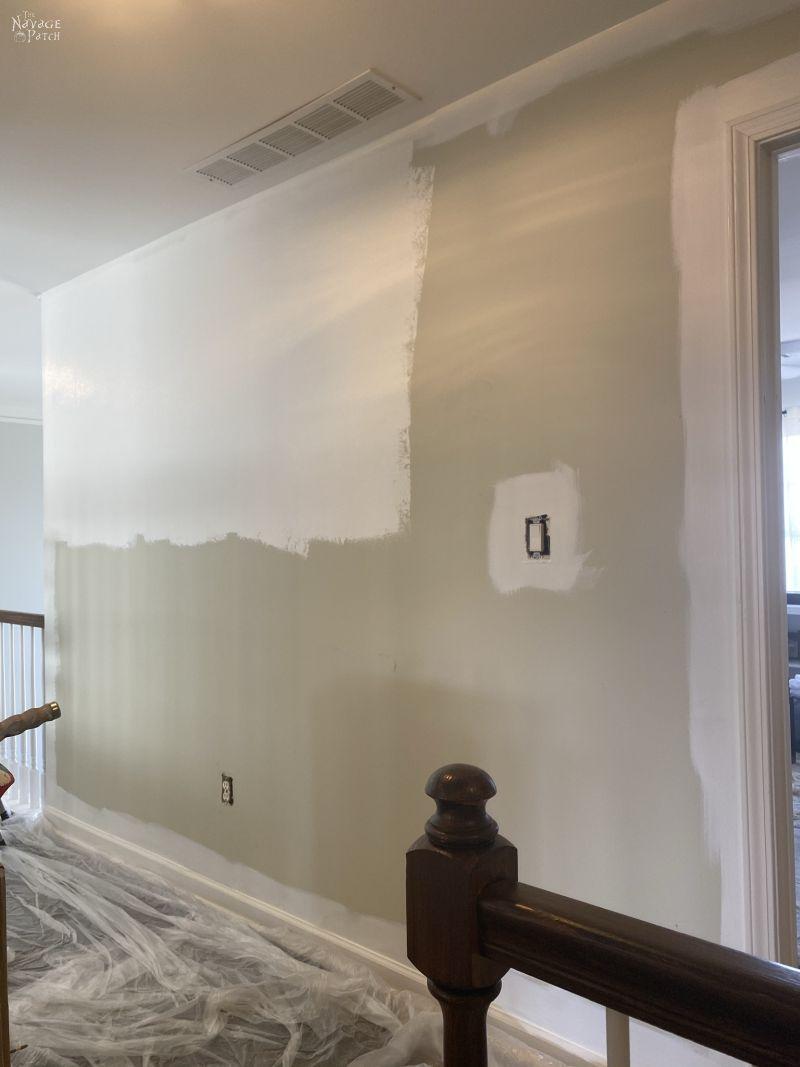half painted hallway wall