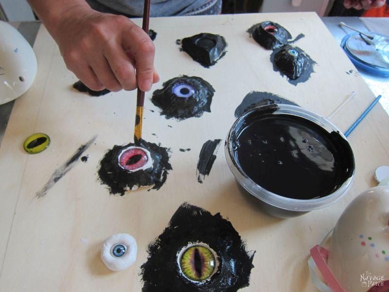 painting clay eye sockets