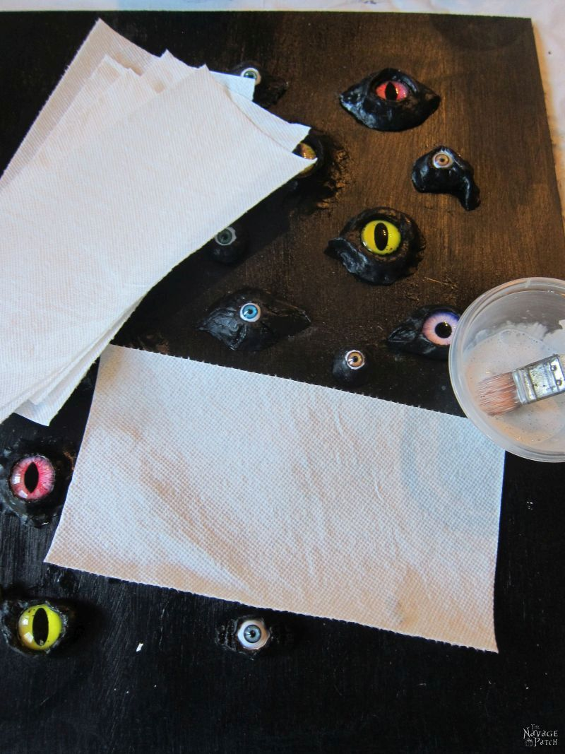 paper towels and mod podge to be used for a leather effect