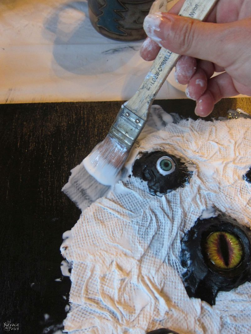 crating faux skin with paper towels and mod podge