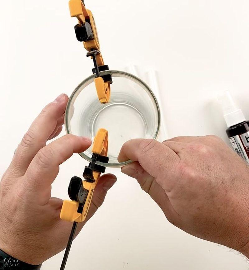 gluing veneer to a vase