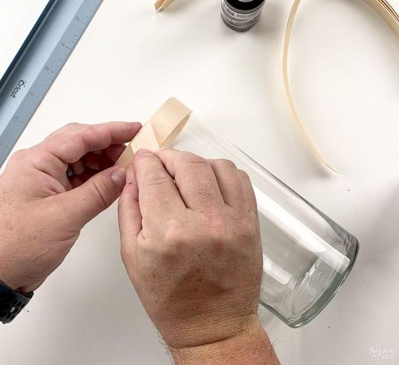 gluing veneer onto a vase
