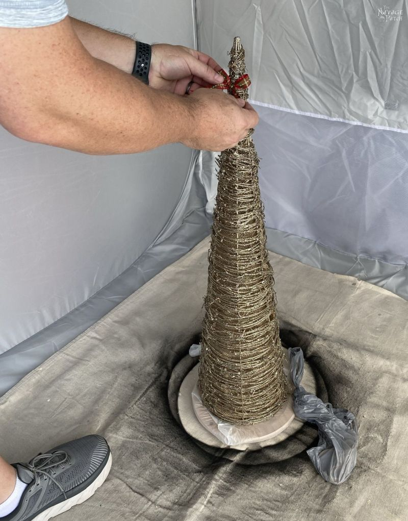 getting ready to paint a cone tree