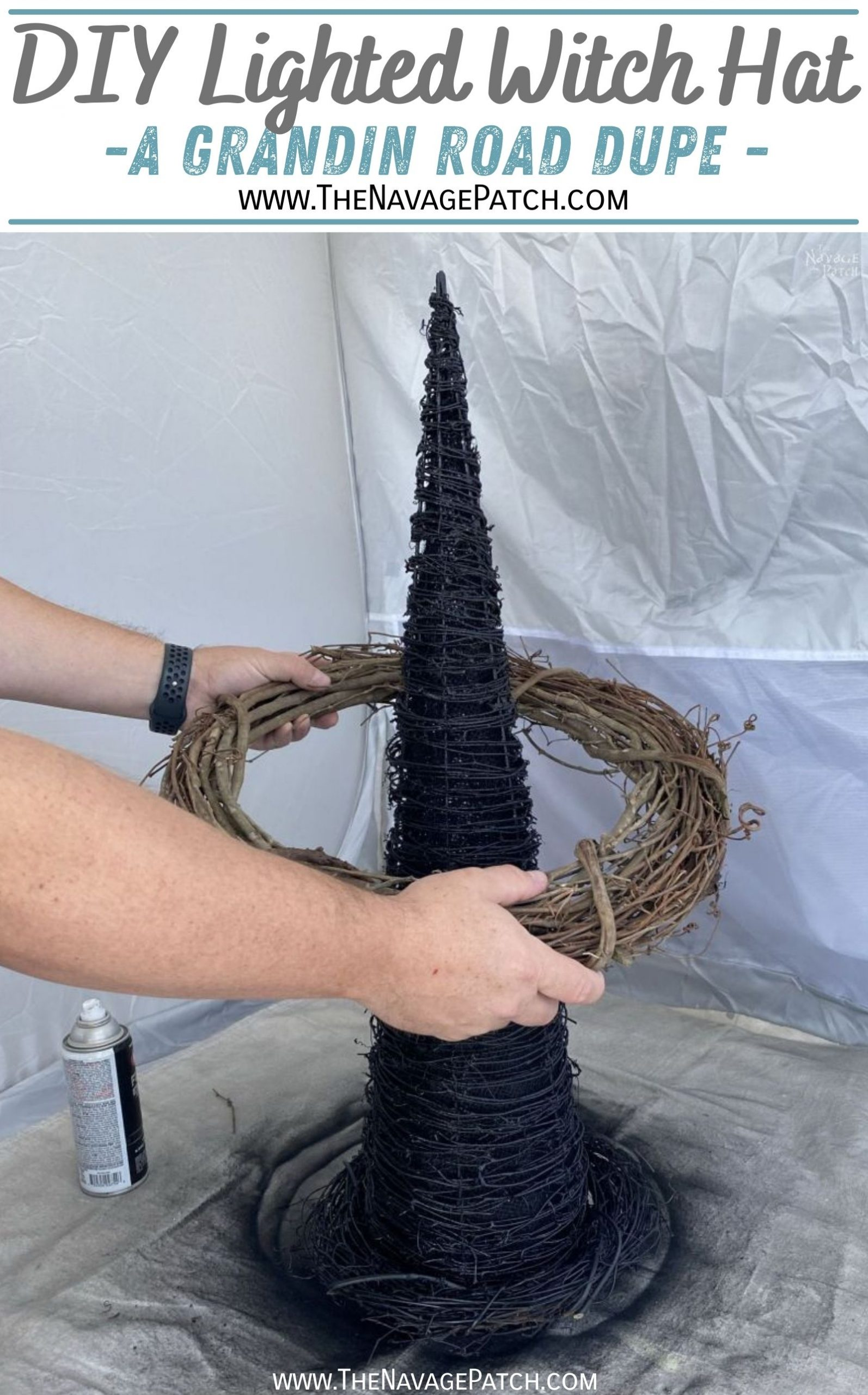 DIY Lighted Witch Hat (Grandin Road Inspired) - TheNavagePatch.com