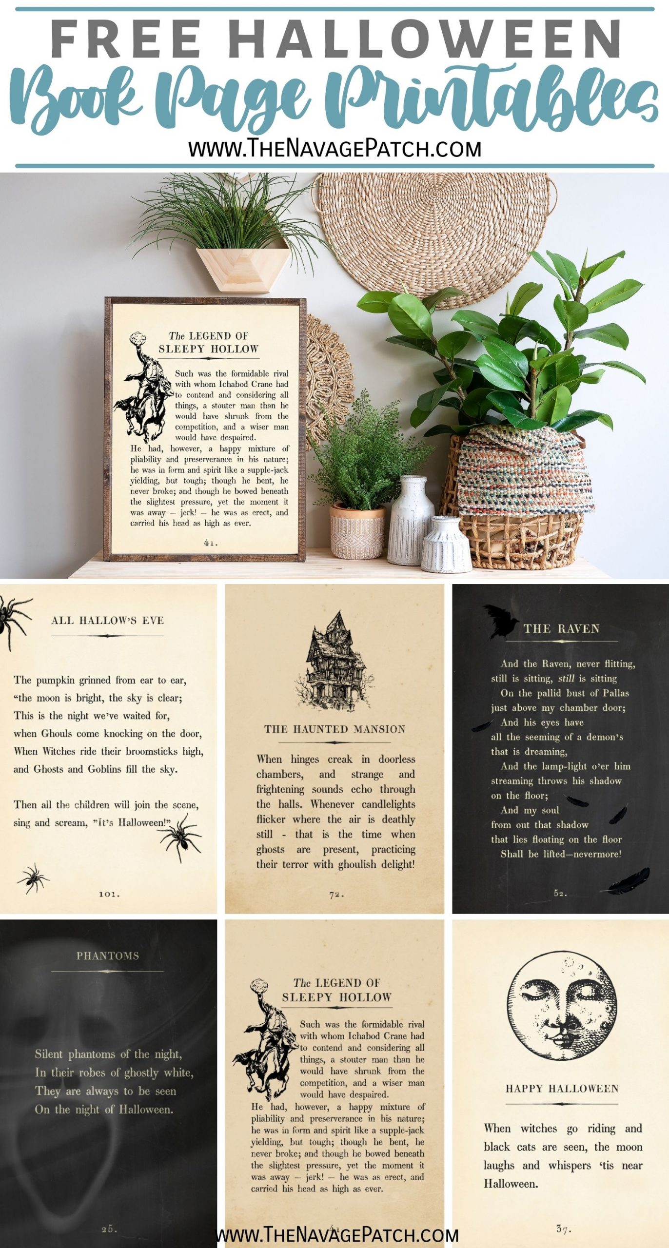 Free Halloween Book Page Printables - TheNavagePatch.com